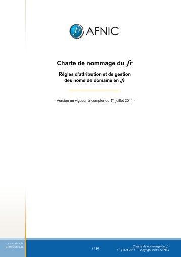 Charte de nommage du .fr - Afnic
