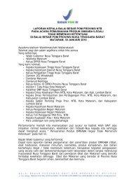 laporan kepala balai besar pom provinsi ntb pada ... - Badan POM