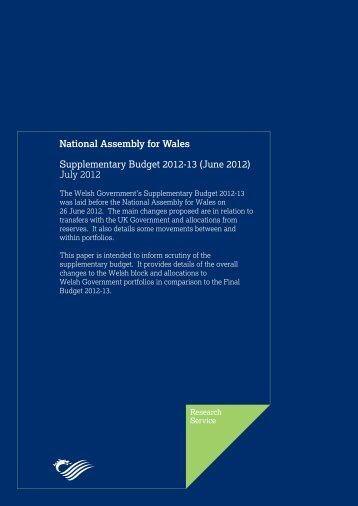 Supplementary Budget 2012-13 - National Assembly for Wales