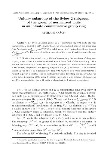 Unitary subgroup of the Sylow 2-subgroup of the group of ...