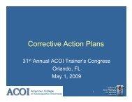 Corrective Action Plans