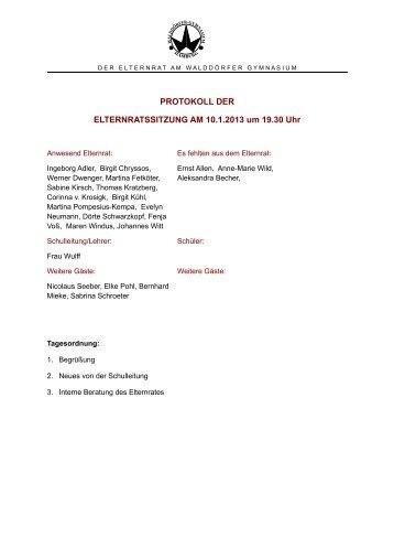 2013-01-10 ER-Sitzung Protokoll.pdf - Walddörfer Gymnasium