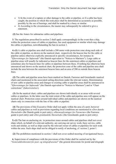 Bekendtgørelse om beskyttelse af søkabler og undersøiske ...