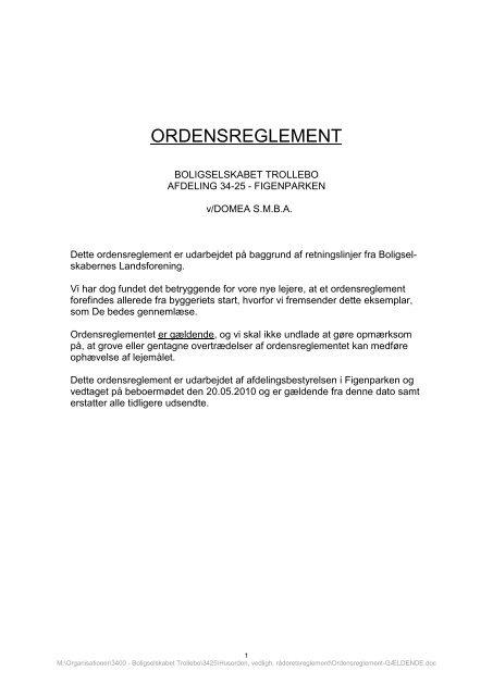 Husordensreglement - Domea