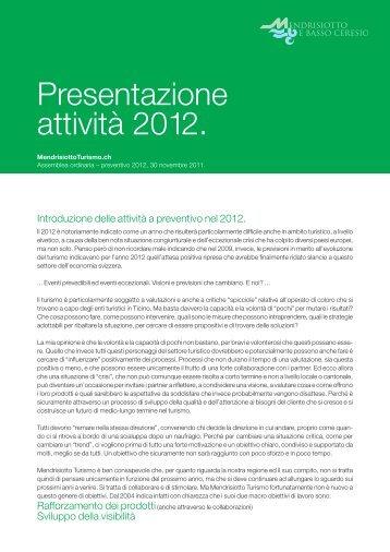 2012 - Preventivo - Ente Turistico del Mendrisiotto e Basso Ceresio