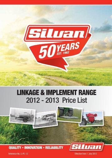2012-13 Linkage & Implement Range Price book - Silvan Australia