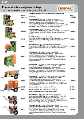 Pneumatisch snoeigereedschap o.a. compressors, scharen, haspels ...