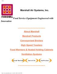 Marshall Air Systems, Inc. Food Service Equipment Engineered with ...