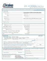 2010 - 2011 RENEWAL Order Form - Drake Software