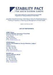 PRELIMINARY LIST OF PARTICIPANTS