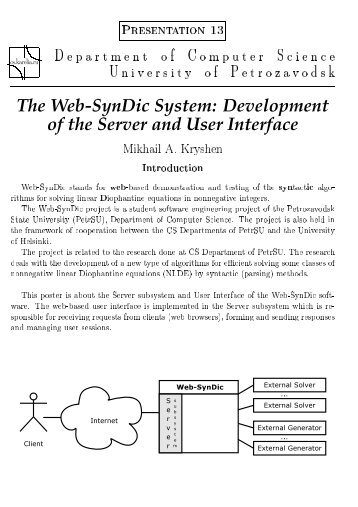 The Web-SynDic System - Department of Computer Science