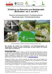 """Einladung zur Exkursion zum Modellprojekt """"MurErleben"""" am 3. Juli ..."""