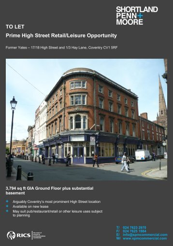 TO LET Prime High Street Retail/Leisure Opportunity