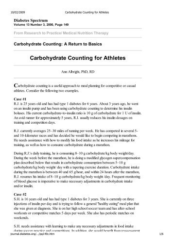 Carbohydrate Counting for Athletes - Diabete No Limits