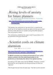 1. Rising levels of anxiety for future planners 2. Scientist ... - ainse