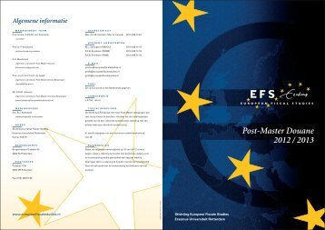 Post-Master Douane 2012 / 2013 - Europese Fiscale Studies