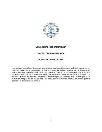 Políticas Curriculares de UNIBE - Universidad Iberoamericana