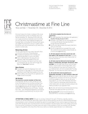 Christmastime at Fine Line - the Fine Line Creative Arts Center
