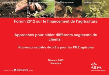 Solutions pour le financement agricole... - Agriculture Finance ...
