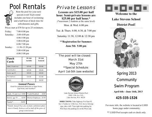 Pool Rentals - Lake Stevens School District #4
