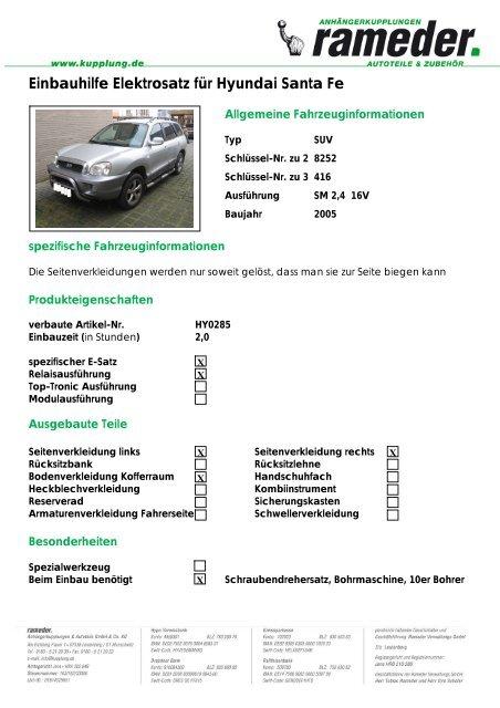 Einbauhilfe Elektrosatz für Hyundai Santa Fe - AutoFaszination
