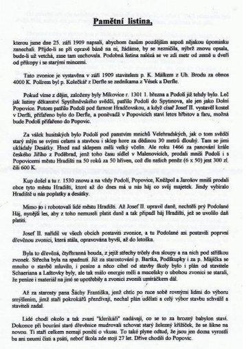 Pamětní listina z kapličky – rok 1909