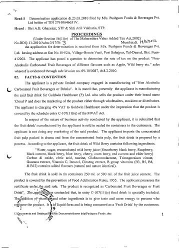 Read:8 Determination application dt.23.03.2010 filed by M/s ...