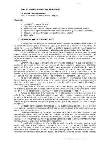 Tema III. HIDRÁULICA DEL MACIZO ROCOSO Dr. Arsenio ...