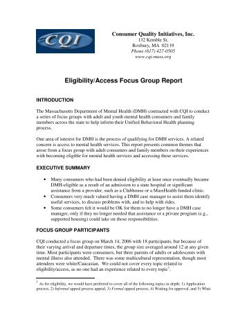 Eligibility/Access Focus Group Report - Consumer Quality Initiatives