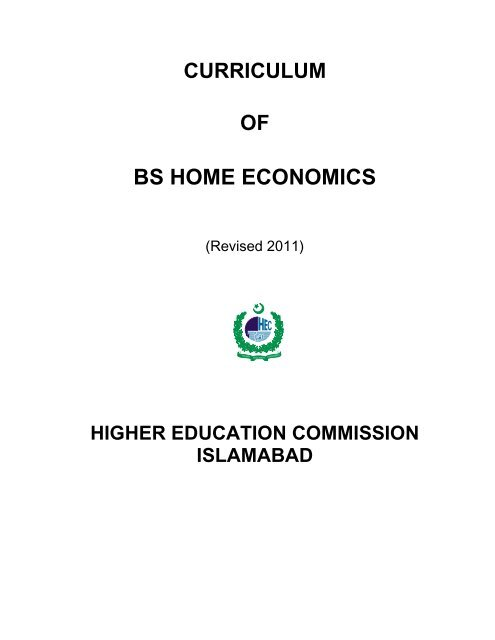 curriculum of bs home economics - Higher Education Commission