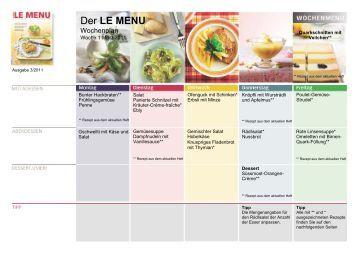 LE MENU Wochenplan 1 März 2011