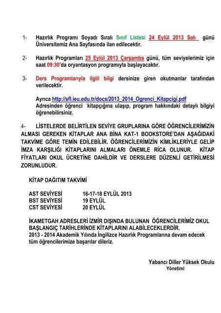 Hazırlık Programları 25 Eylül 2013 Çarşamba günü, tüm ...