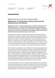 Communiqué de Presse ĞLe Tournant 10ğ - Depression.ch