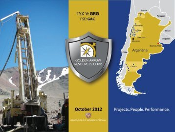 October 2012 - Golden Arrow Resources Corporation