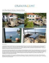 Lila Bay Beach House, Island of Hvar - CroatiaGems