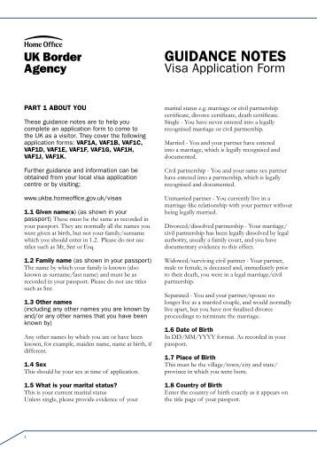 VAF1A-1K guidance notes - UK Border Agency - the Home Office