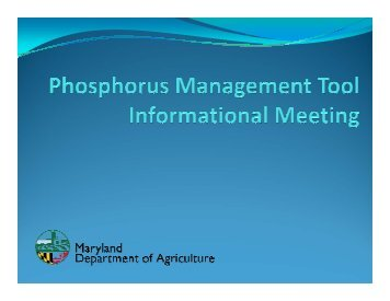Phosphorus Management Tool Information Meeting Presentation
