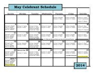 2013 February Celebrant Schedule