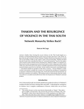 'Thaksin and the resurgence of violence in the Thai South: network ...