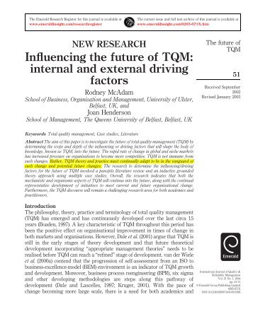 Influencing the future of TQM: internal and external driving factors