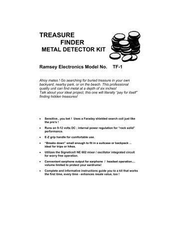 treasure finder metal detector kit - Ramsey Electronics
