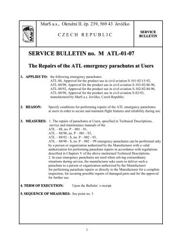 SERVICE BULLETIN no. M ATL-01-07 - MarS as
