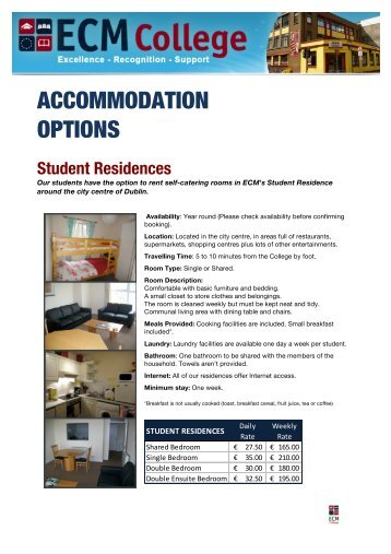 View the Accommodation Photo Album on - ECM College