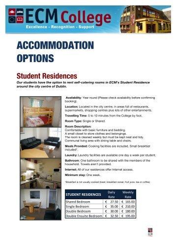 View the Accommodation Photo Album on - ECM College