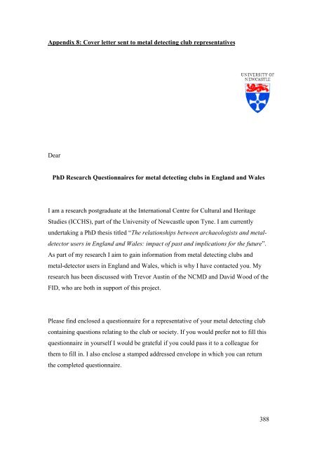 Appendix 8 Cover Letter Sent To Metal Detecting