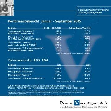 Performancebericht Januar – September 2005 - pross consult