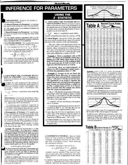 Statistics Reference Cheatsheet