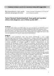 Tumori Stromali Gastrointestinali: linee guida per la pratica clinica ...