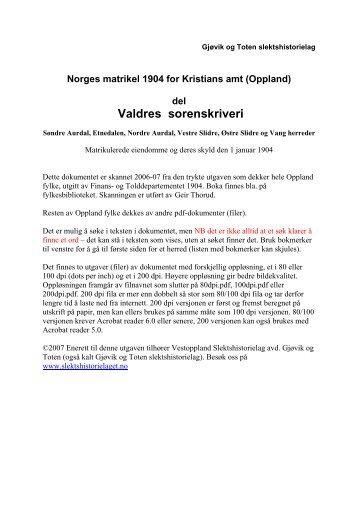 1904 Matrikkel Valdres ocr 100dpi v6.pdf - DIS-Norge