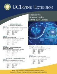 Engineering Advance Notice Fall 2013 Courses - UC Irvine Extension